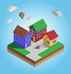 Isometric colorful houses on a street vector