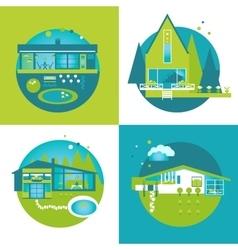 Ecofriendly Green Houses set vector image