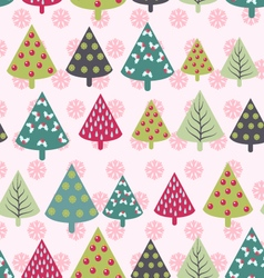 Christmas pattern - xmas trees and snowflakes vector