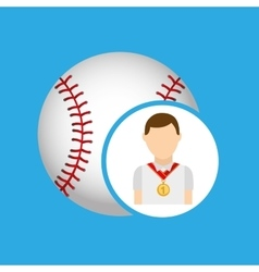 athlete medal baseball icon graphic vector image
