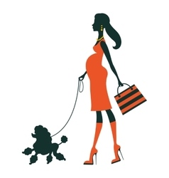 Beautiful pregnant woman silhouette with poodle vector