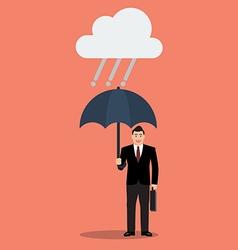 Businessman with umbrella in rain vector image