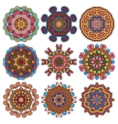 Circle lace ornament round geometric doily pattern vector