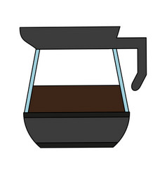 Color graphic glass jar of coffee with handle and vector