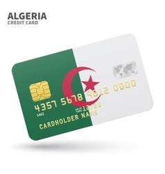 Credit card with algeria flag background for bank vector