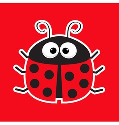 Cute cartoon lady bug sticker icon red background vector