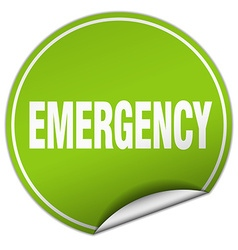 emergency round green sticker isolated on white vector image vector image