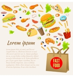 Fast Food Colorful Design vector image