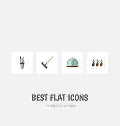 flat icon dacha set of pump flowerpot hothouse vector image vector image