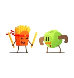 French fries against cabbage cartoon fight vector