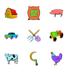 harvesting icons set cartoon style vector image