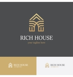 Linear golden house logo vector