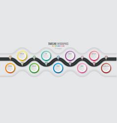 Navigation map infographic 9 steps timeline vector