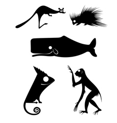 original art animal silhouettes vector image vector image