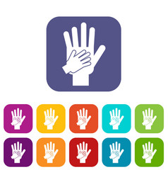 Parent and child hands together icons set vector