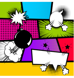 pop art strip comic text speech bubble bomb vector image vector image