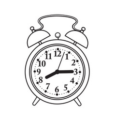 Retro style analog alarm clock sketch vector