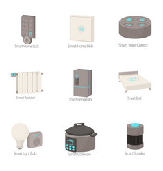Smart house icons set cartoon style vector
