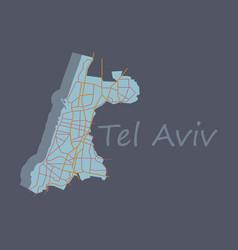 Tel aviv flat map artprint landmass water and vector