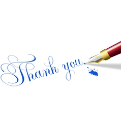 Thank you note fountain pen vector image vector image