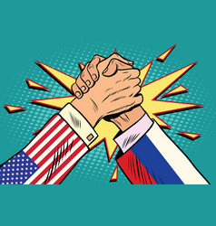 Usa vs russia arm wrestling fight confrontation vector