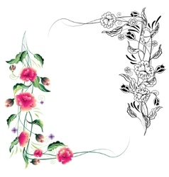 Vignette of ornamental flowers vector image vector image