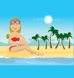 young woman with cocktail sitting on beach vector image