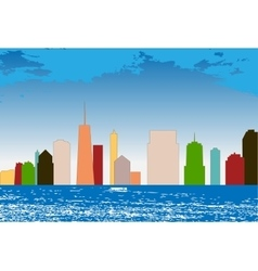 Colorful Silhouette City Background vector image