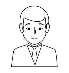 Silhouette half body man formal style vector