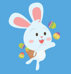 Happy easter egg bunny character vector