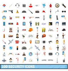 100 security icons set cartoon style vector image