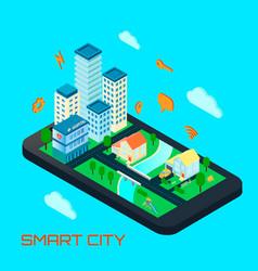 Smart city isometric design concept vector