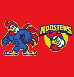 Angry chicken rooster vector