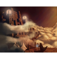 Dark castle in clouds fairytale fantasy landscape vector