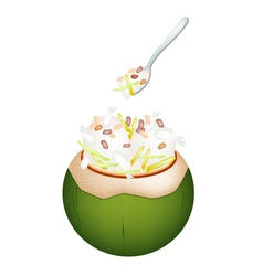 Coconut ice cream with nuts and jackfruit vector