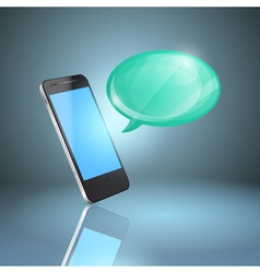 Mobile phone with glossy speech bubble vector