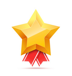 3d gold star medal and red ribbon vector