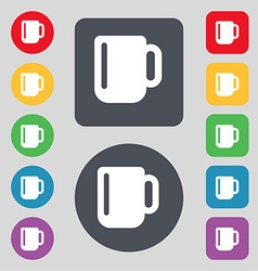 Cup coffee or tea icon sign a set of 12 colored vector