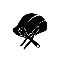 Construction tin hat with tools black vector