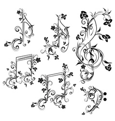 Floral music notes vector