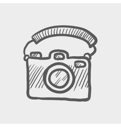 Camera with handle sketch icon vector