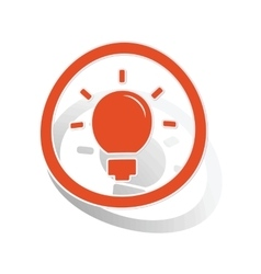 Light bulb sign sticker orange vector