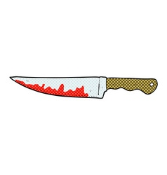 Comic cartoon bloody kitchen knife vector