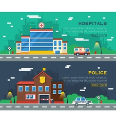 Government buildings two horizontal banners vector