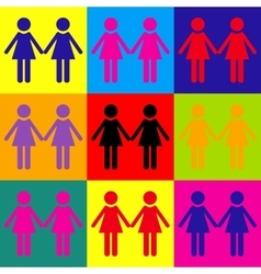 Lesbian family sign vector