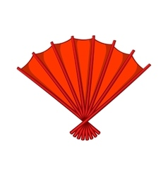Red open hand fan icon cartoon style vector
