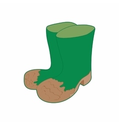 Dirty green rubber boots icon cartoon style vector