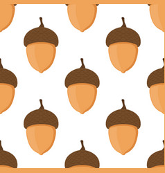 acorn oak nut seamless patternflat style vector image