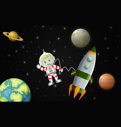 Astronauts exploring the galaxy vector