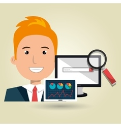 businessperson with statistic graph isolated icon vector image vector image